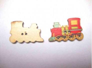 Houten knoop gekleurd Locomotief Rood