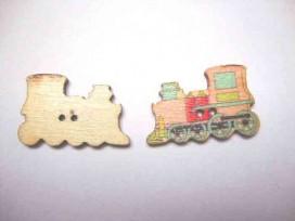 Houten knoop gekleurd Locomotief Roze