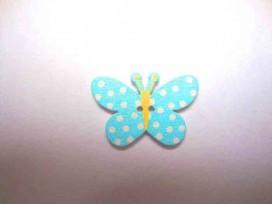 Houten knoop gekleurd Vlinder met stip Aqua