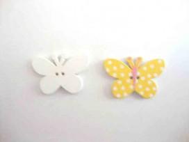 Houten knoop gekleurd Vlinder met stip Geel