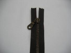Donkerbruine antiek messing deelbare rits 50 cm. lang