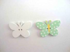 Houten knoop gekleurd Vlinder met stip Mint