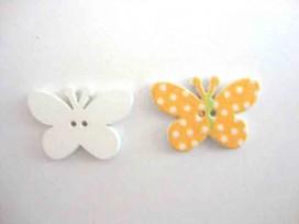 Houten knoop gekleurd Vlinder met stip Kanariegeel