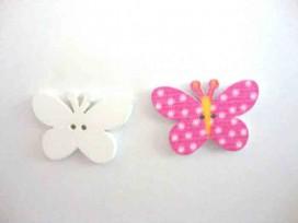 5g Houten knoop gekleurd Vlinder met stip Pink