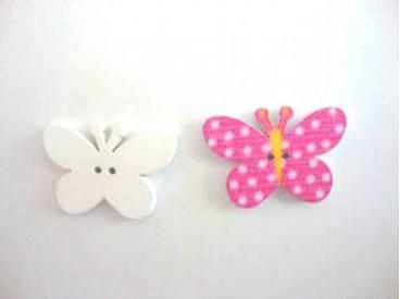 Houten knoop gekleurd Vlinder met stip Pink