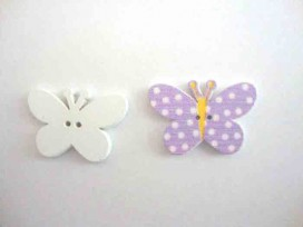 5i Houten knoop gekleurd Vlinder met stip Lila