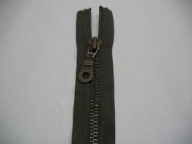 Legergroene antiek messing deelbare rits 50 cm. lang