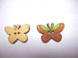 5a Houten knoop gekleurd Vlinder Glad Okergeel