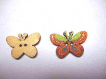 Houten knoop gekleurd Vlinder Glad Okergeel