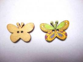 5b Houten knoop gekleurd Vlinder Glad Geel