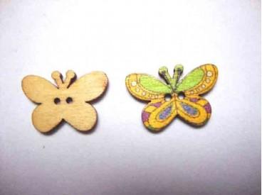 Houten knoop gekleurd Vlinder Glad Geel