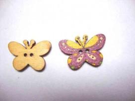 Houten knoop gekleurd Vlinder Glad Paars
