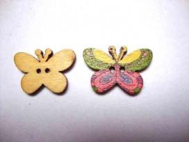 Houten knoop gekleurd Vlinder Glad Lila