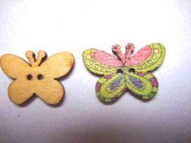 Houten knoop gekleurd Vlinder Glad Mint