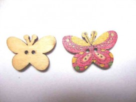 5g Houten knoop gekleurd Vlinder Glad Oudroze