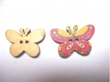 Houten knoop gekleurd Vlinder Glad Oudroze