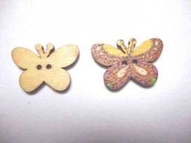 5h Houten knoop gekleurd Vlinder Glad Bruin