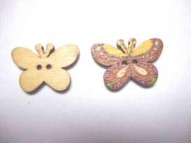 Houten knoop gekleurd Vlinder Glad Bruin