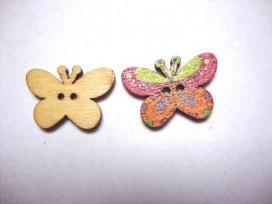 Houten knoop gekleurd Vlinder Glad Oker/paars