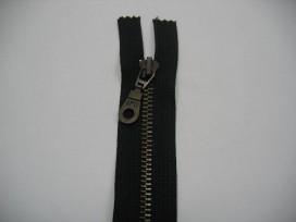 Zwarte antiek messing deelbare rits 50 cm. lang