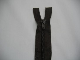 Donkerbruine deelbare fijne rits 30 cm. lang