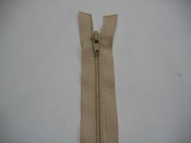 Zand kleurige deelbare rits fijn, 35 cm. lang