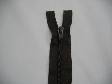 Donkerbruine deelbare rits fijn. 40 cm. lang