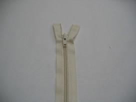 Creme kleurige deelbare rits fijn. 40 cm. lang
