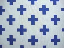 Decoratiestof Ottoman Plus Wit/Jeansblauw 1102-106N