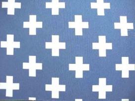 Decostof Ottoman Plus Jeansblauw/Wit