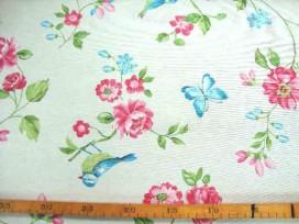 Decoratiestof met een ottoman binding met een bloem, vogel en vlinder print. 70% katoen/30% polyester 1.40 mtr. breed 170 Gr. M2