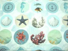 Decoratiestof Digital Zeedieren in cirkel 1051-08N