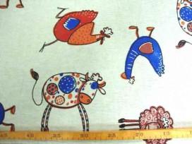 Decoratiestof Linnenlook Boerderijdieren 1253-05N