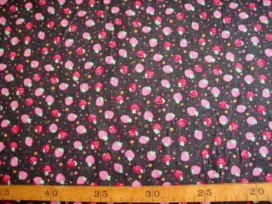 Jeans stof Zwart met aardbei en stip 3815-20