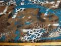 Polyester Voile Met bruin/petrol vlek en dierenprint 102319-12PL