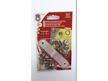 Babydrukkers. Zilverkleurige inslag drukknopen met werktuig. Een open rondje. 15 stuks per pakje Let op: 1 maat groter 11 mm.