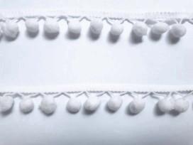 Sierband met pompom bolletjes Wit