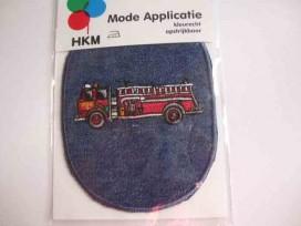 Applicatie jeans ovaal met rode brandweerwagen 29051