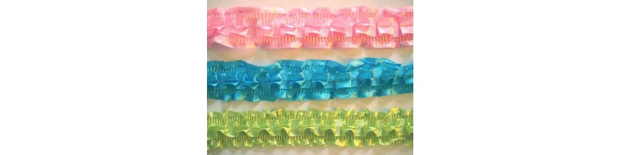 Satijnband met ruche  45mm breed