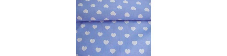 BB ruit Lichtblauw stip ster en hart combi stoffen