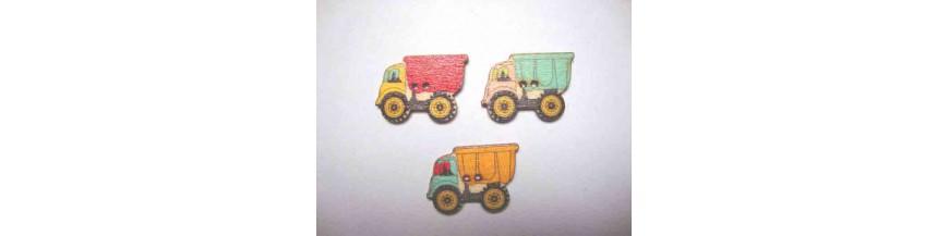 I: Houten knopen gekleurd Vrachtwagen