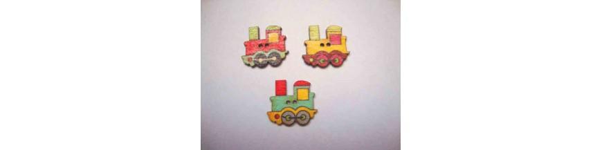 K: Houten knopen gekleurd Trein