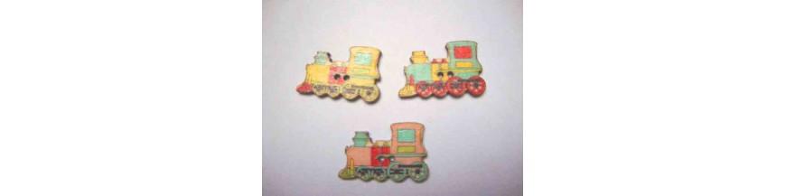 L: Houten knopen gekleurd Locomotief