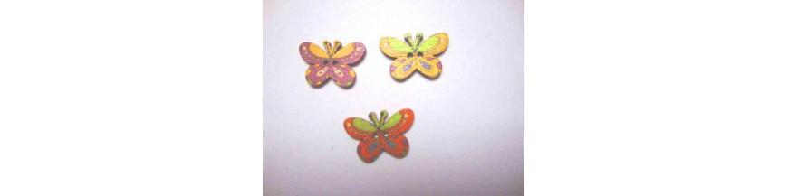 O: Houten knopen gekleurd Vlinder Glad