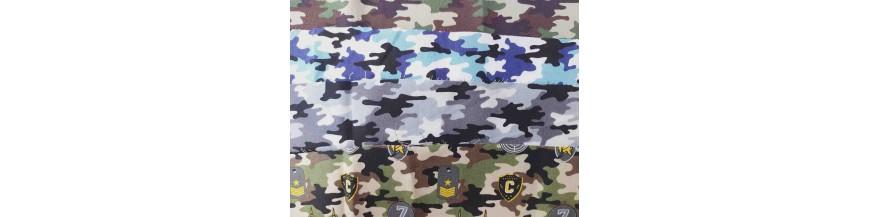 Dapper poplin katoen serie Legerprints