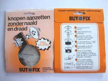 Butofix. Knopen aanzetten zonder naald en draad.